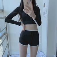 Color matching long sleeve cropped swimsuit