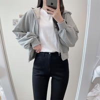Dongle puff cropped hooded zip-up cardigan