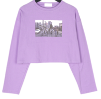Velive printed cropped long-sleeved T-shirt