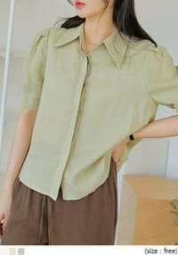 Pointed Collar Linen Blouse