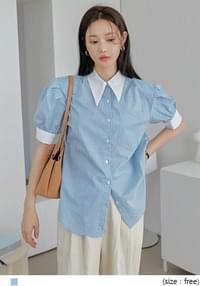 Pointed Collar Striped Blouse