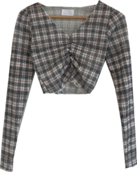 Lala check shirred cropped blouse