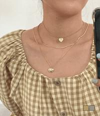 Metal Heart Layered 2PC Necklace Set