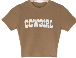 Cow lettering cropped short-sleeved T-shirt