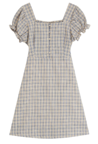 Country check mid-length dress
