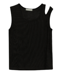 Page cut-out sleeveless top
