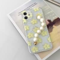 Yellow Green Daisy Pattern Pearl Strap iPhone Case