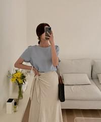 Yomi Linen Knotted Skirt-3color