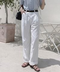 Coming Pintuck Wide Cotton Pants - Ivory L Same Day Shipping