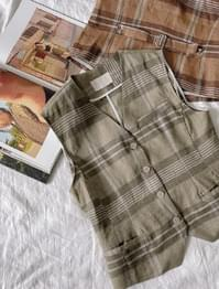 Sold button checked linen vest