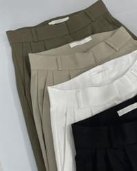 Bow cotton high-waist wide trousers