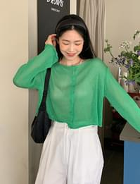 Cropped see-through rolling cardigan
