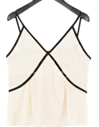 Contrast Accent Sleeveless Top