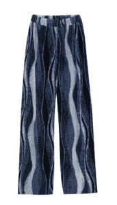 Beach wave pleated banding trousers