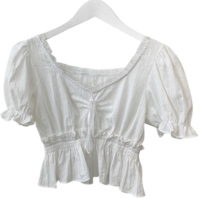 Sylvie lace bow cropped blouse