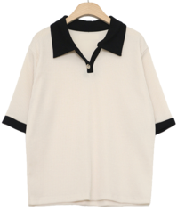 (Limited Offer) Color button collar short sleeve T