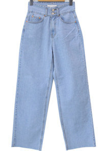 Two-button high-waist wide jeans