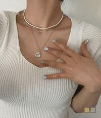 Round Medal Pearl Choker Chain 3PC Necklace Set