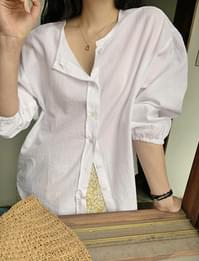 Banding Sleeve Check Round Blouse