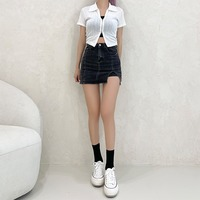 Unique charm, double zip collar Ribbed short sleeve cardigan