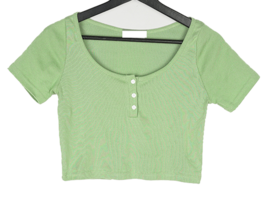 Piaru button cropped short-sleeved T-shirt