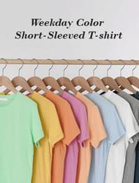 Weekday color short-sleeved T-shirt