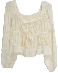 Shaded frill strap cropped blouse
