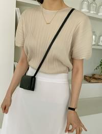 pleated puff round blouse