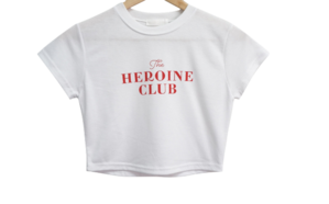 club lettering cropped short sleeve tee