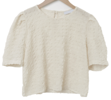 Wrinkle puff cropped blouse