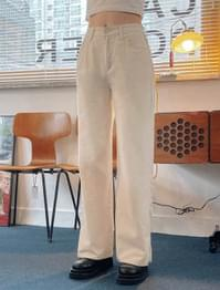Billy high-waisted slit cotton pants