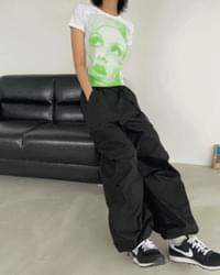 Cotton String 2way Wide Jogger Pants
