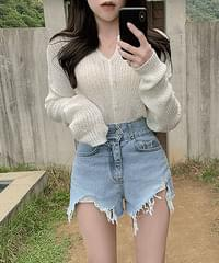Embarrassed See-through Collar Ribbed Knitwear Cardigan