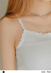 Lace Trim Ribbed Sleeveless Top