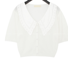 Perforated Wide Collar Knit Top