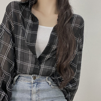 Peco, overfit see-through check shirt