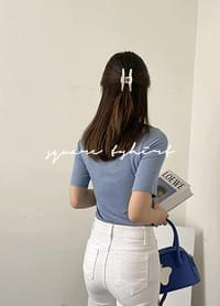 Pumini color matching square neck Ribbed T-shirt