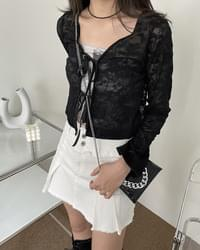 Chance lace see-through ribbon cardigan