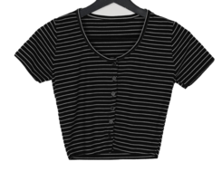 Striped button cropped T-shirt