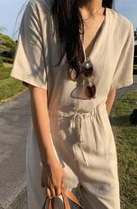 MMMM# Exclusive Order/Same Day Shipping Soft Linen String Jumpsuit