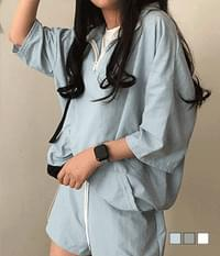 High neck short sleeve rustic anorak two-piece set