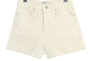Rolled-Up Cuff Cotton Blend Shorts
