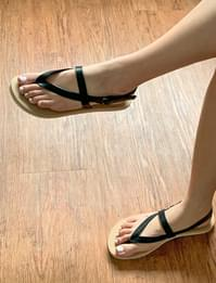 triangle flat leather sandals