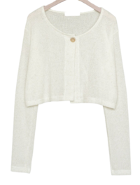 Say One Button Linen Cardigan Set
