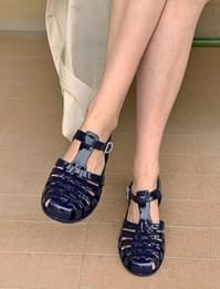 Jelly Louver Buckle Sandals