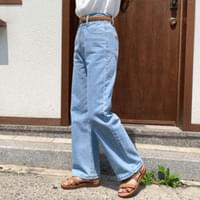 Two-button wide banded denim trousers