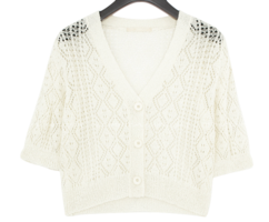 Perforated Cropped Cardigan