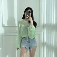 Candy Cotton, Loose-fit See-through Hooded Knitwear