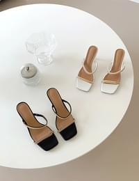 gold chain strap mule shoes