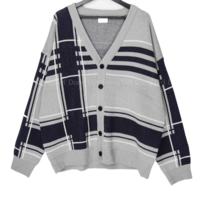 Big Size 55-99 Loose-fit Fit Modern Check Cardigan